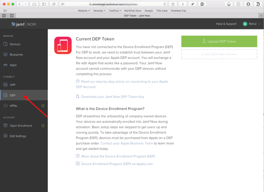 Integrate Jamf Now with Apple DEP