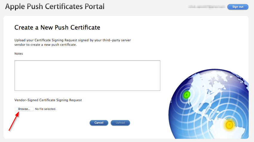 Upload the certificate file