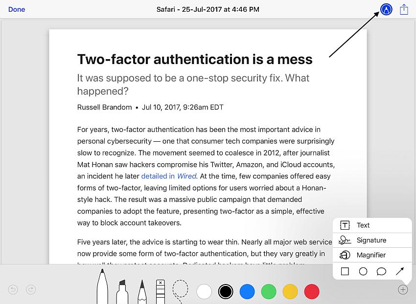 add notes to pdf files in Safari