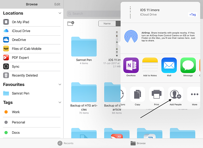 collaborate file with others in the Files app