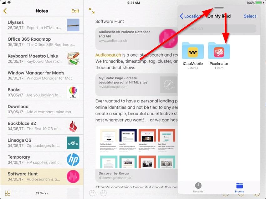 split view in iOS 11