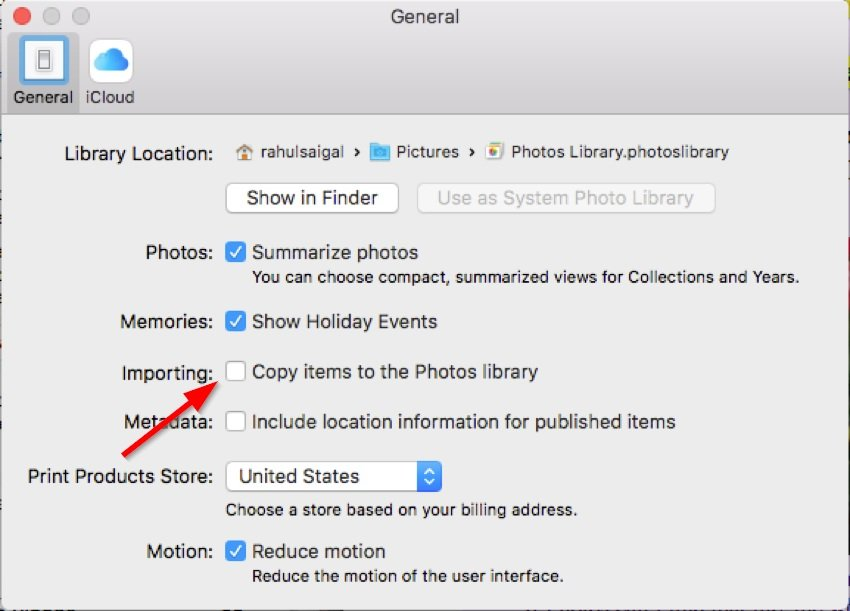 uncheck copy items to the photos library