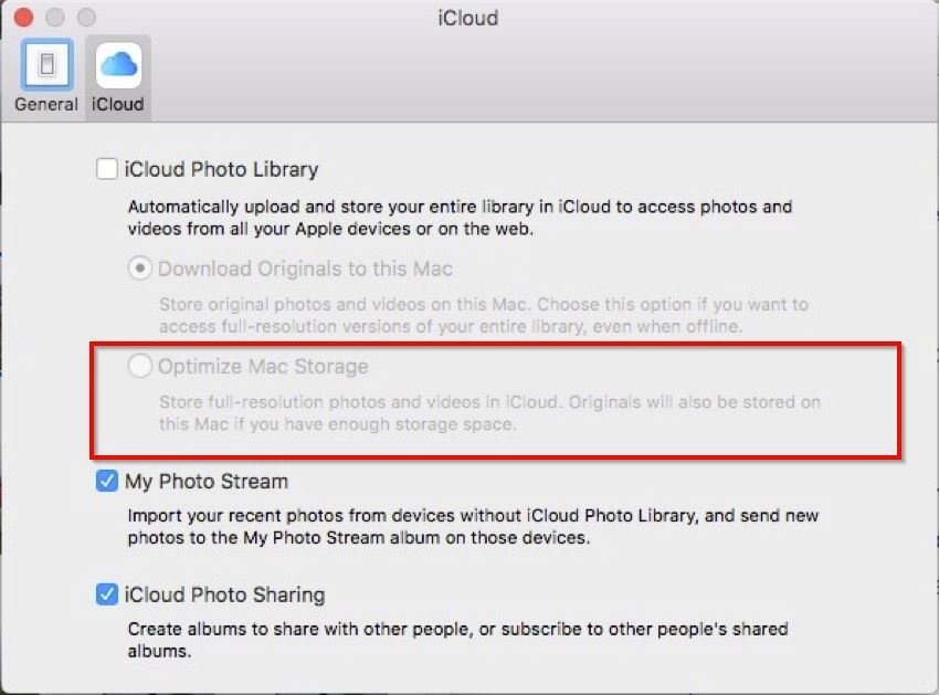 optimize photo storage on the Mac