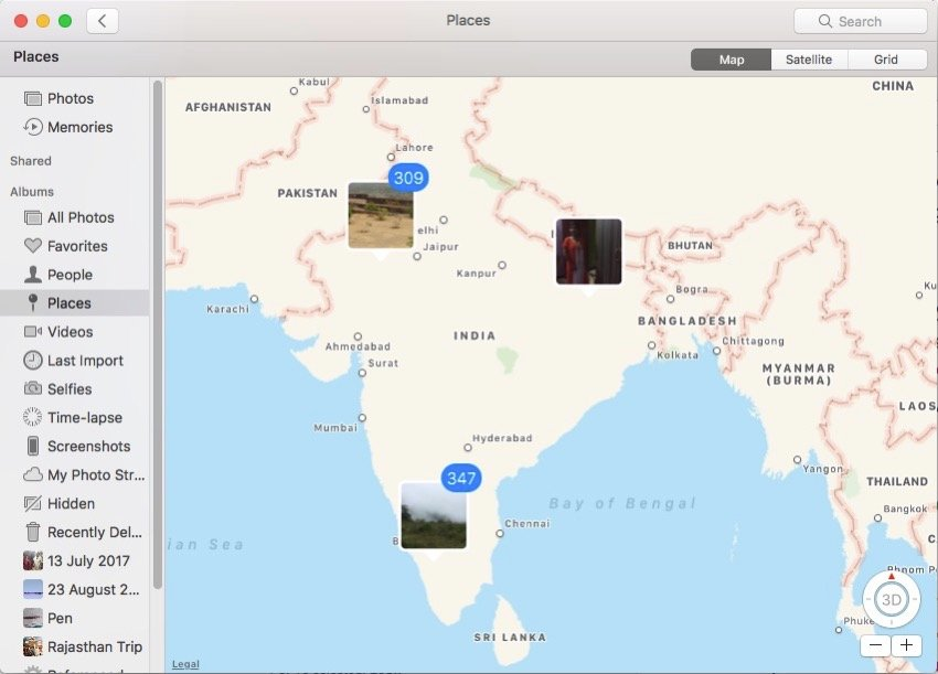 places album shows all photos in map