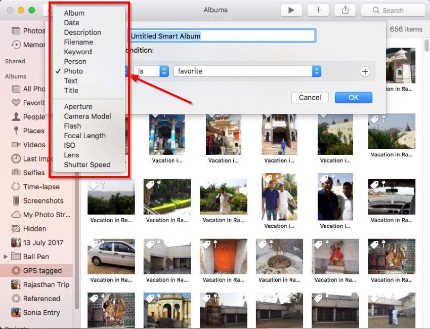 create smart album in photos for Mac