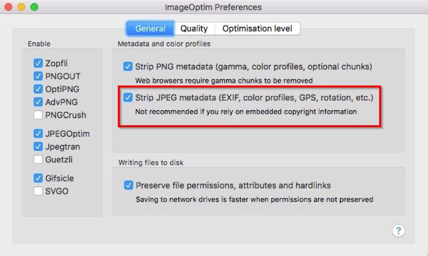 imageoptim preference to strip location info on Mac