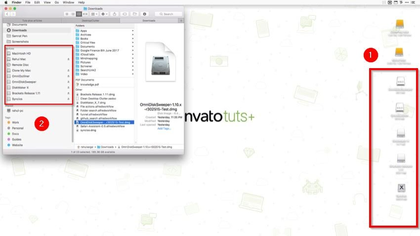 desktop icons represent clutter