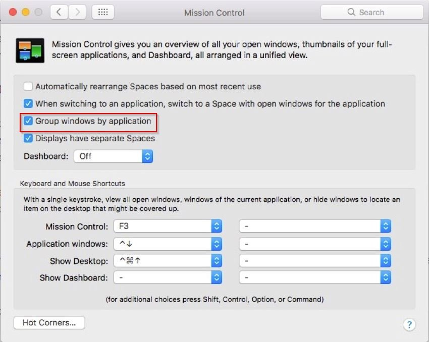 group windows by application in mission control preference