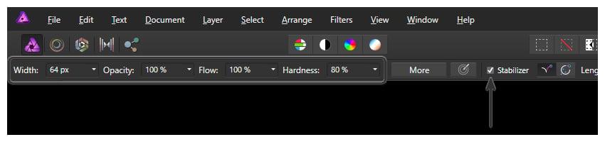 brush settings in affinity photo