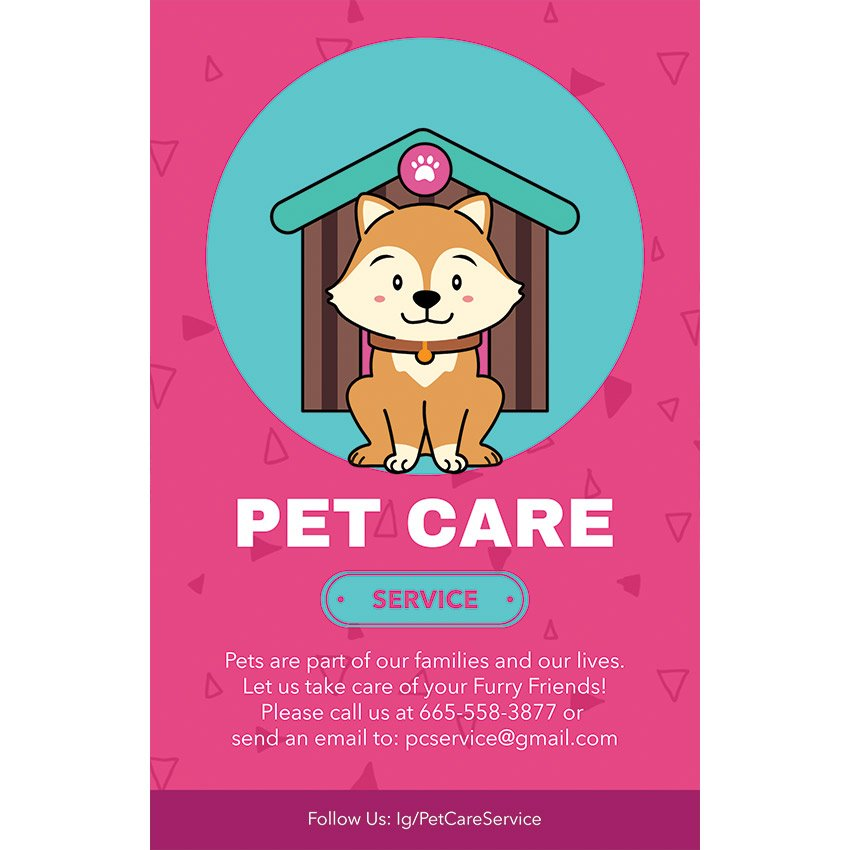 Flyer Template for a Pet Care Service with a Dog Illustration