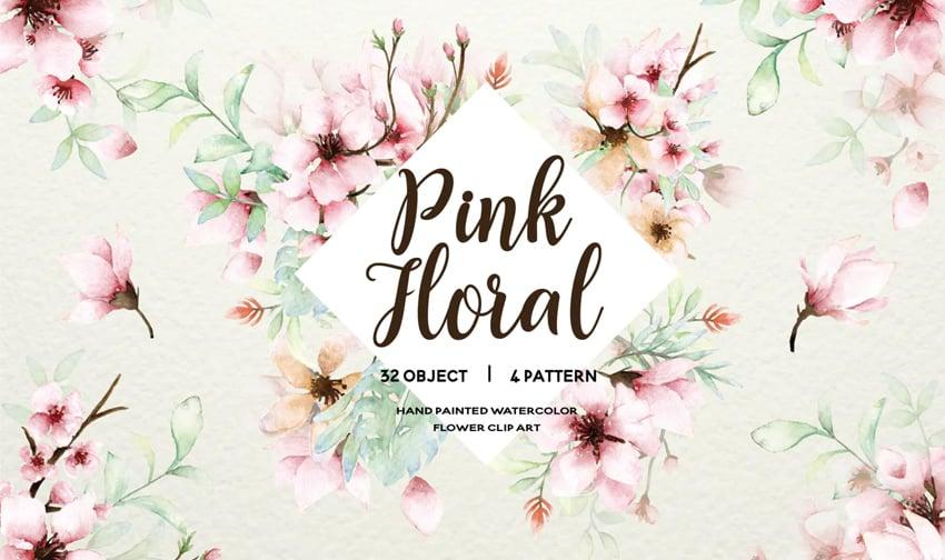 Pink Floral - Sakura Watercolor Set