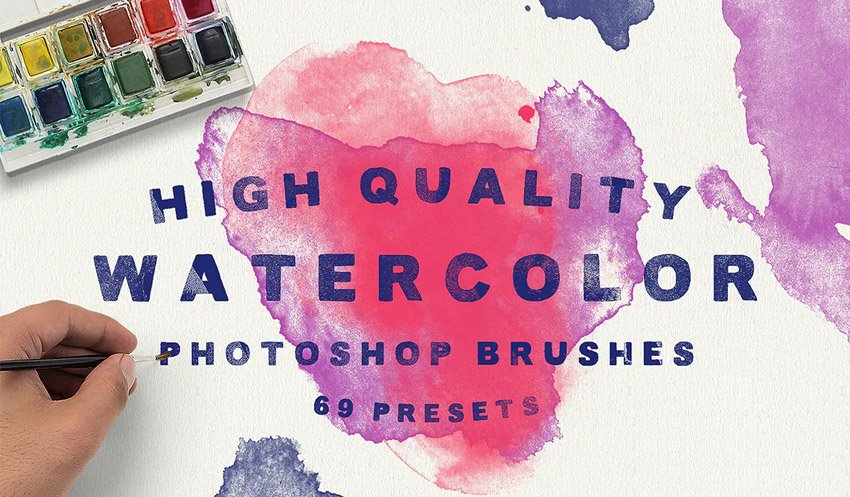 69 Watercolor Brushes for Photoshop
