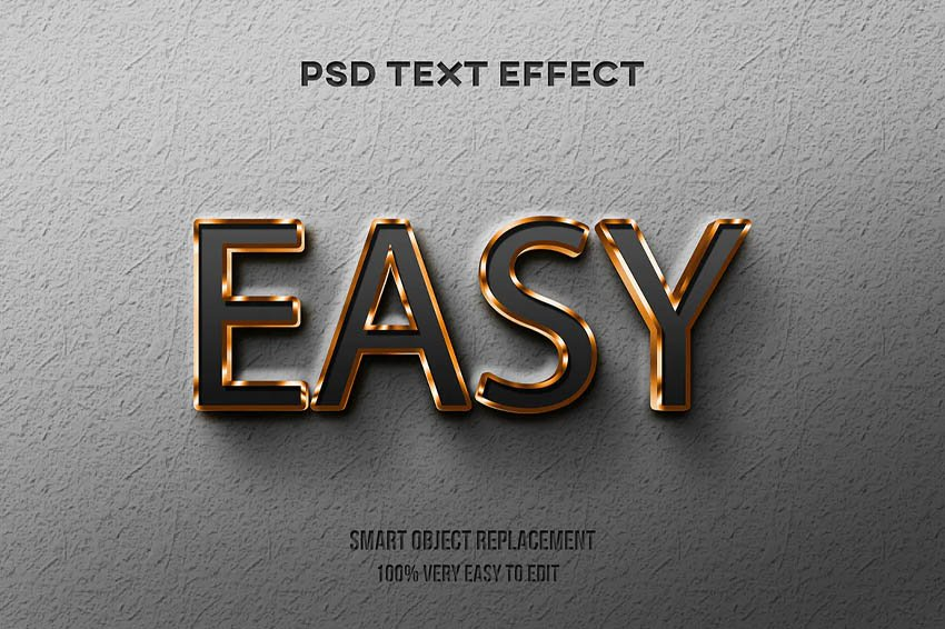 Gold glossy text effect