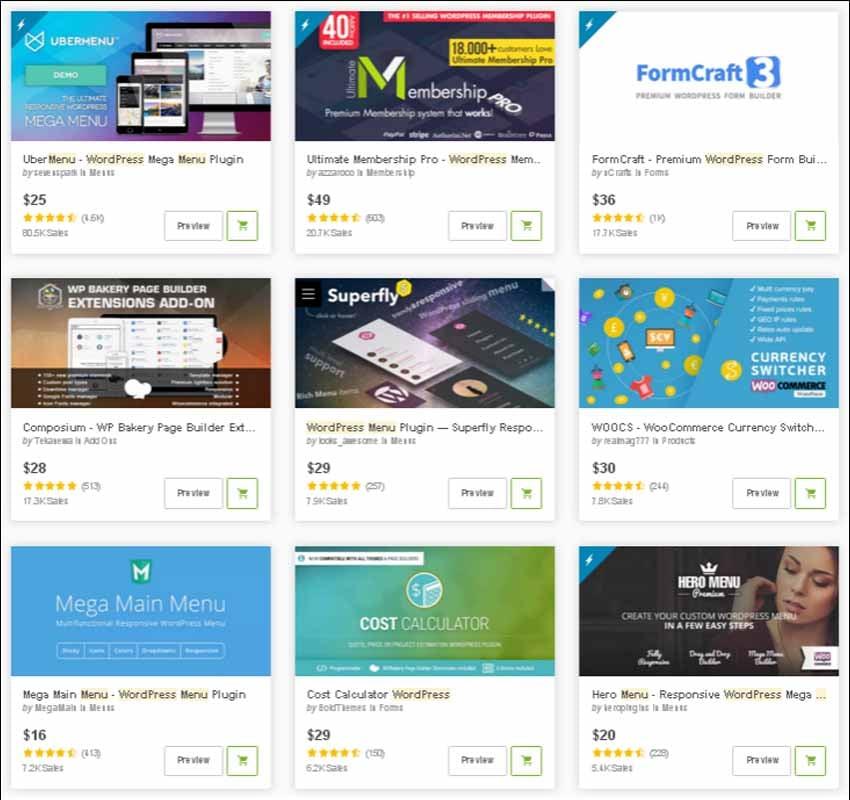 WordPress menu plugins