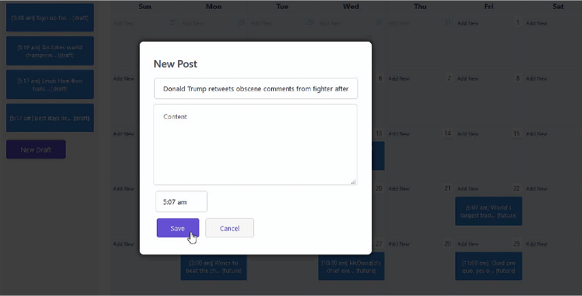 Editing a post in the calendar view