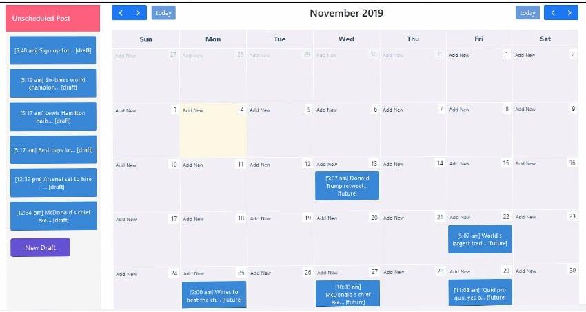 Schedule Calendar view