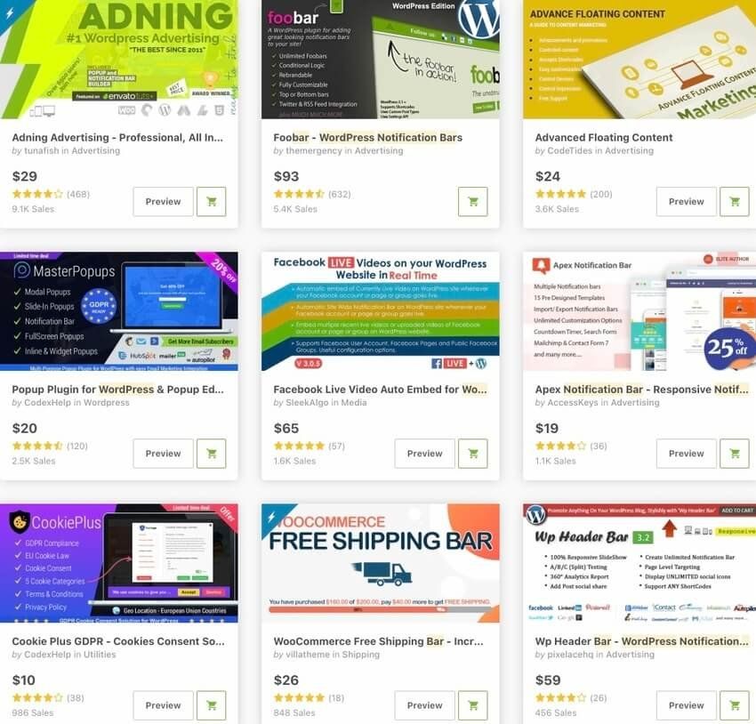 Bestselling Notification Bar Plugins for WordPress on CodeCanyon