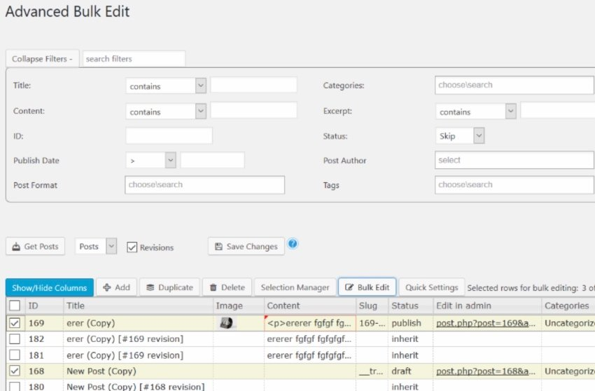 WordPress Advanced Bulk Edit