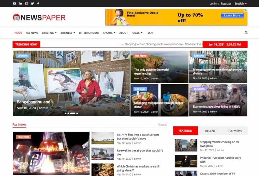 Newspaper - Responsive News, Magazine and Blog CMS Script