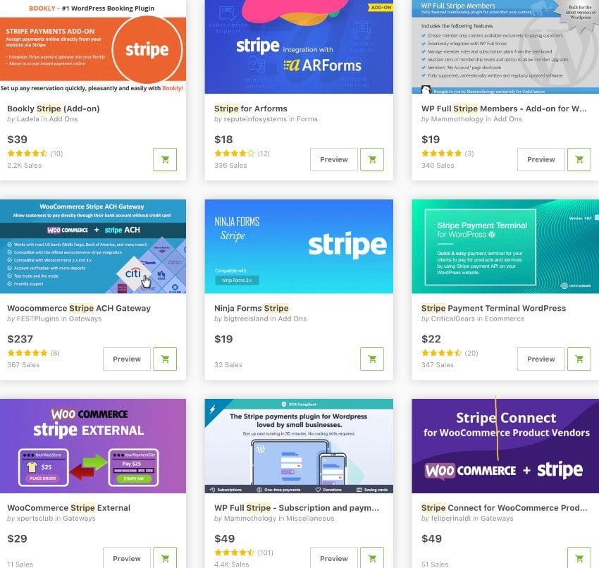 Topselling Stripe Plugins for WordPress on CodeCanyon