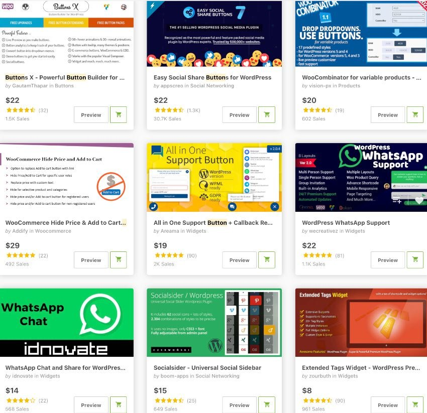 Topselling Button Plugins on CodeCanyon