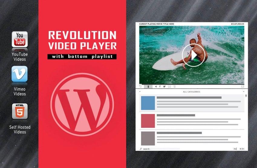 Revolution - Plugin reproductor de vídeo para WordPress con lista de reproducción inferior