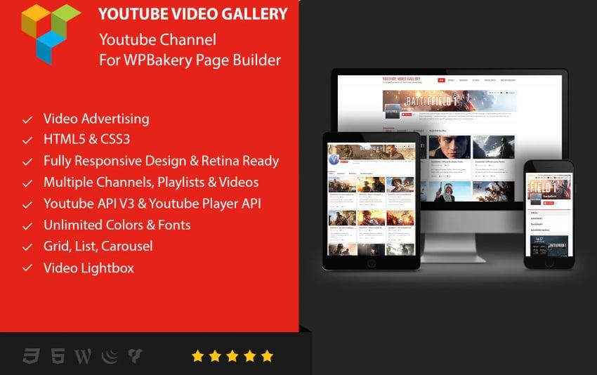 Youtube Gallery - Plugin de reproductor de vídeo para WPBakery (Visual Composer)