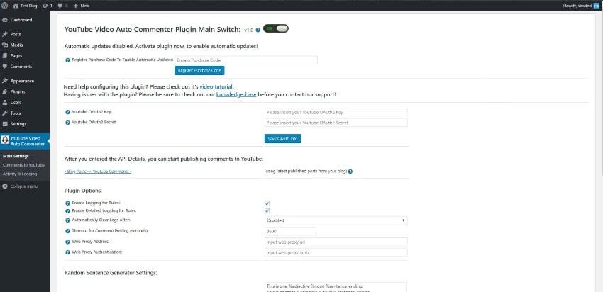 YouTube Video Auto Commenter Plugin for WordPress