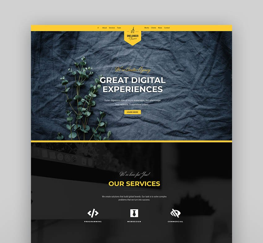 OneLander   Creative Landing Page WordPress Theme