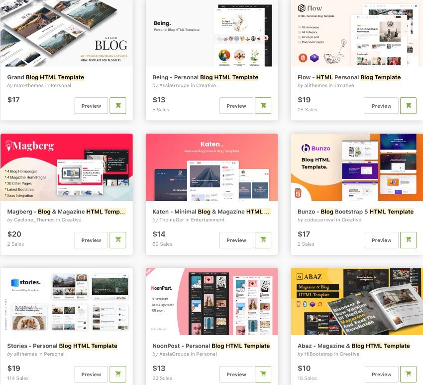 bestselling new html blog templates on ThemeForest