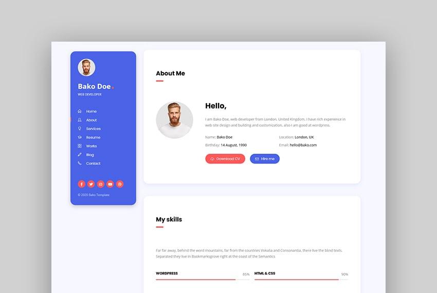 Bako - Personal Portfolio & Resume HTML Template
