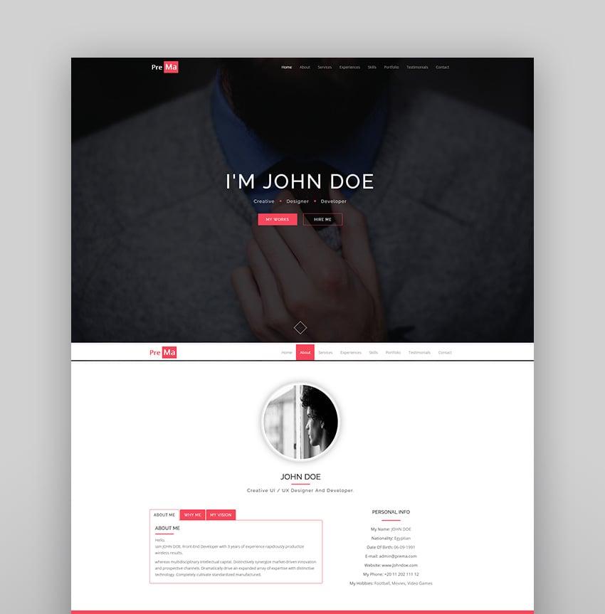 Prema - Personal Portfolio HTML One Page Template.
