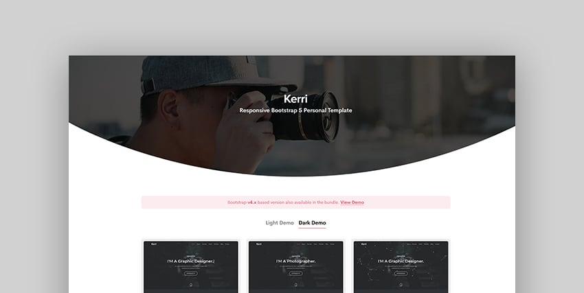 Kerri - Responsive Bootstrap 4 & 5 One Page Portfolio Template