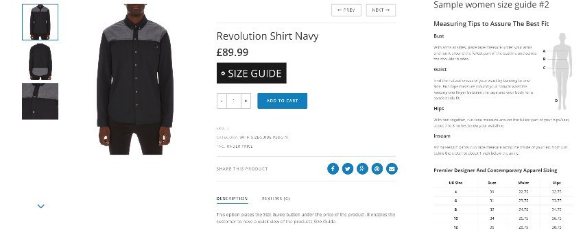 WooCommerce Product Size Guide