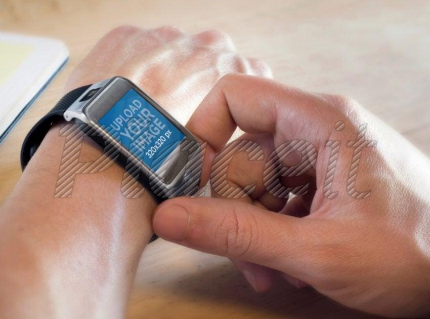 Mockup of a Samsung Galaxy Gear 2 on a Man's Arm