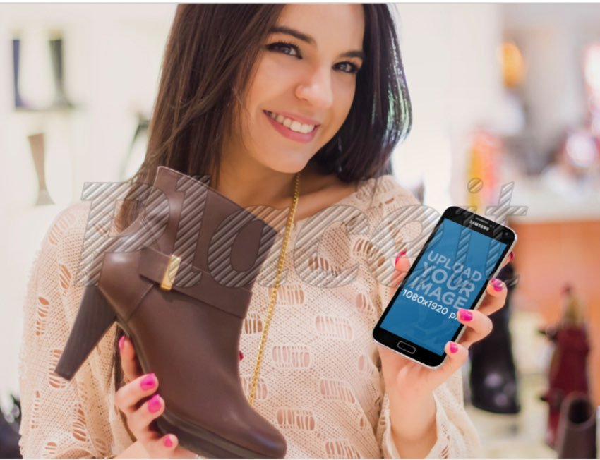 Samsung S5 Mockup / Android Mockup of a Girl Shopping for Shoes.