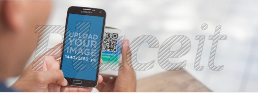 Android Mockup of a Teenager Scanning a QR Code