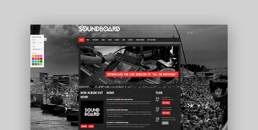 Soundboard - a Premium Responsive Music WordPress Theme
