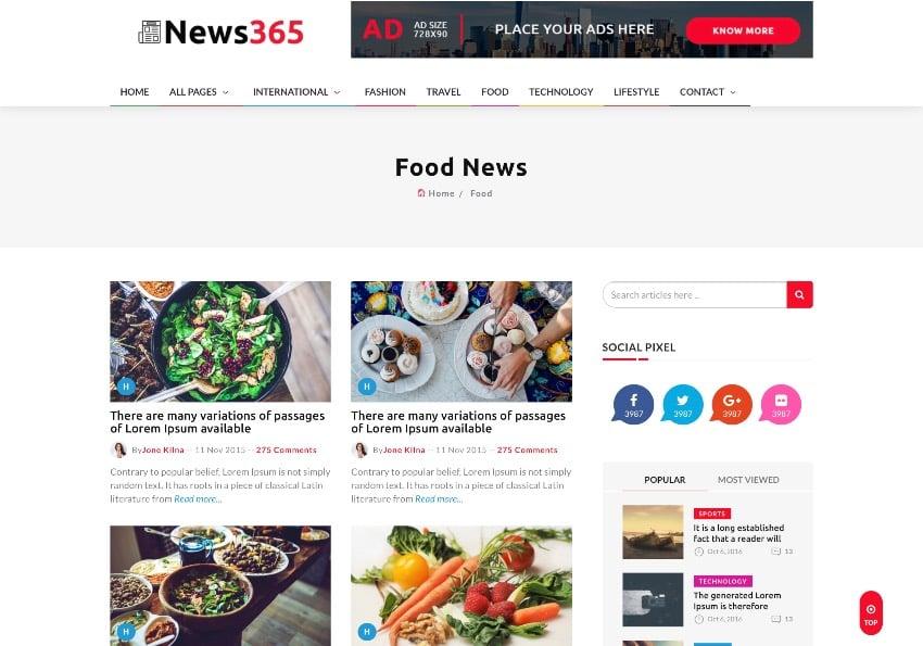 News365 - Multipurpose Newspaper and Blog HTML Template