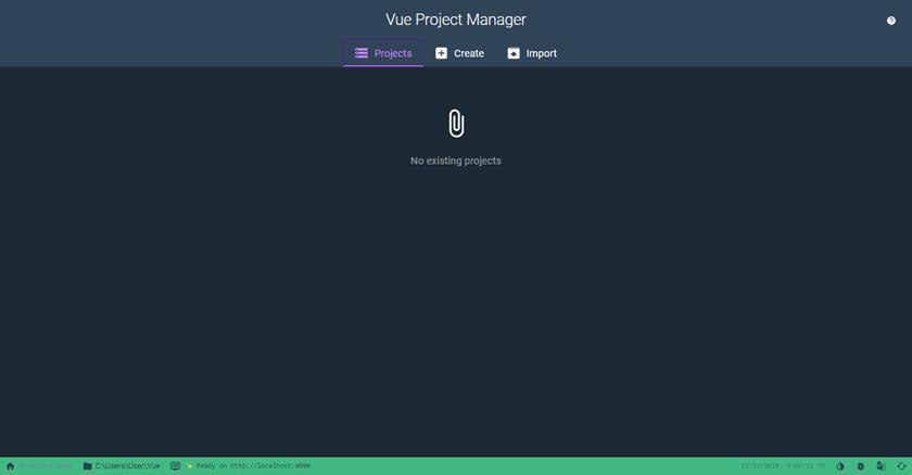 The Vue UI homescreen