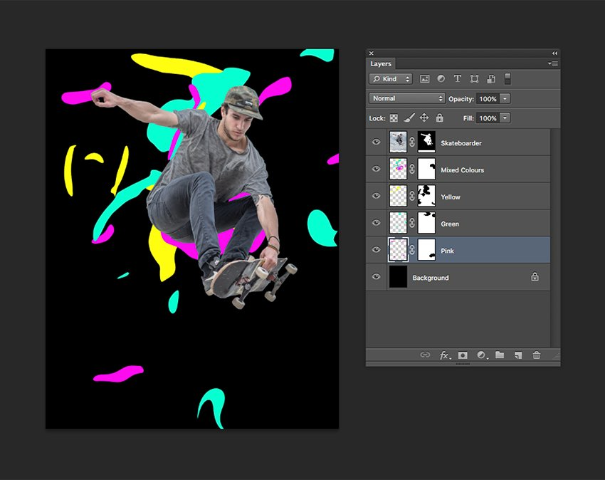 Using Layer Masks to clean up the coloured shapes that are not necessary