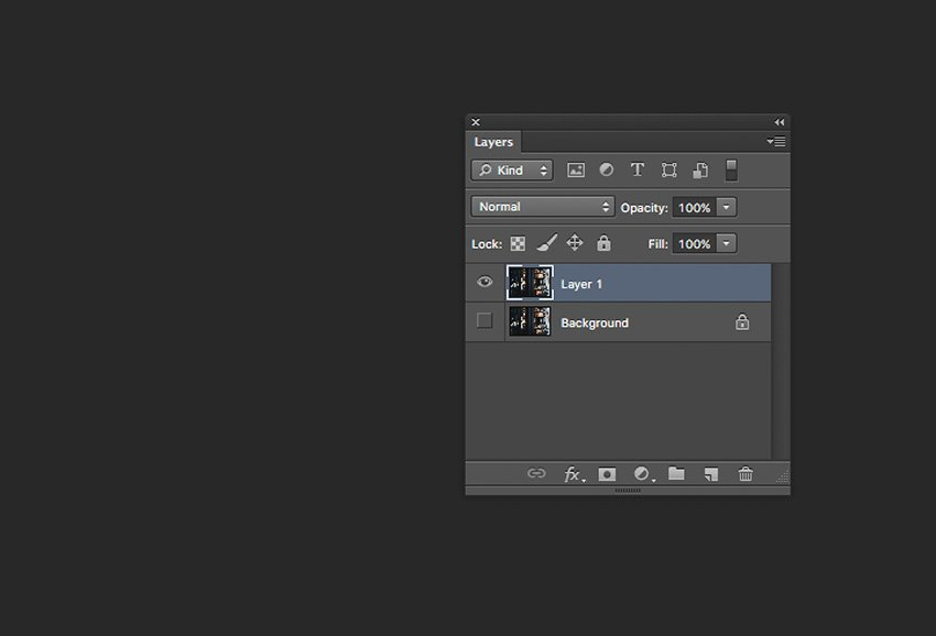 Duplicate layer and hide visibility of the original background layer