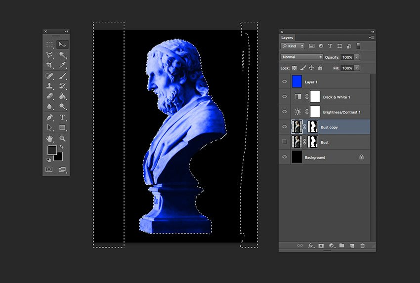 Hold Command and select the Layer Mask of the duplicated layer