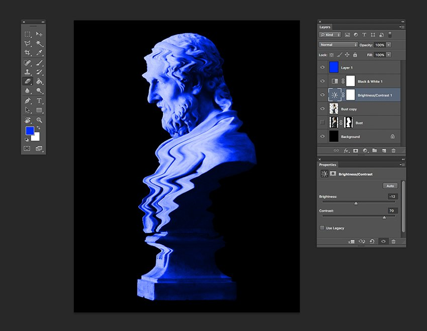 Tweak contrast and brightness with a new adjustment layer