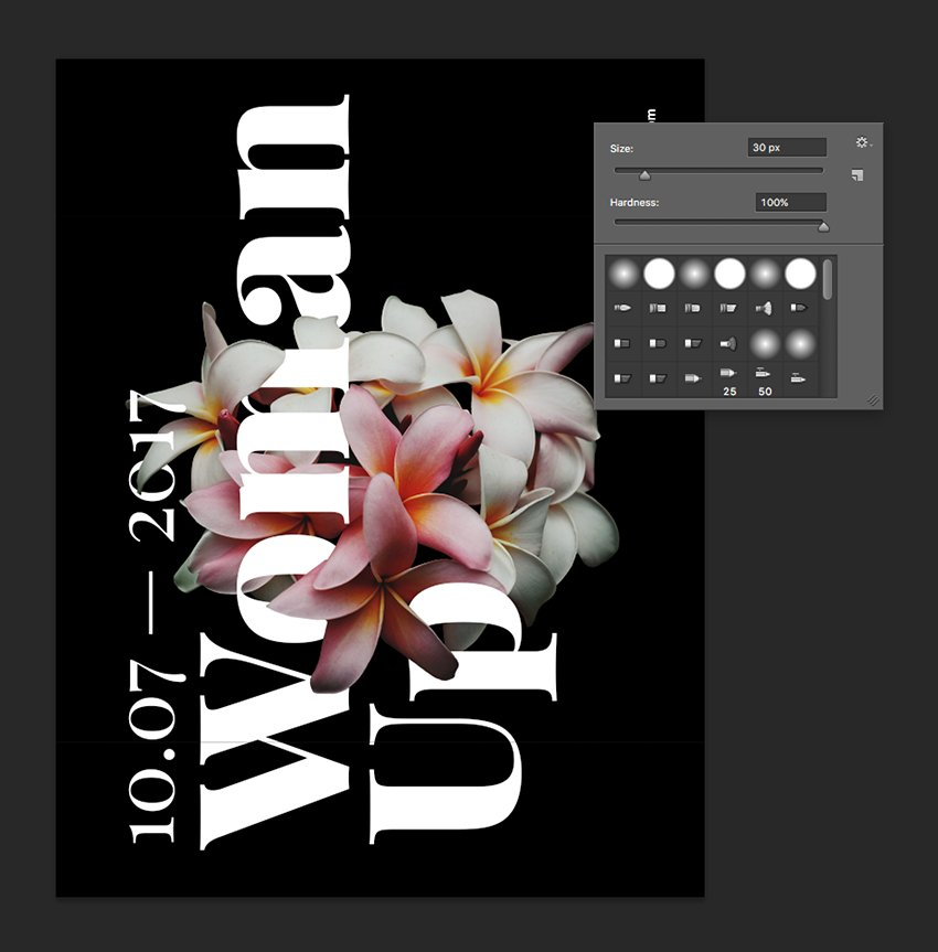 On the layer mask of the new flower layer use the brush tool to reveal parts of the flower