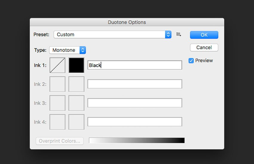 Choose Monotone under the Type option and use a black color under ink 1