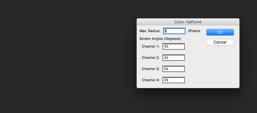 On the Color Halftone settings use 5 pixels for the radius For each channel use 45 degrees angles