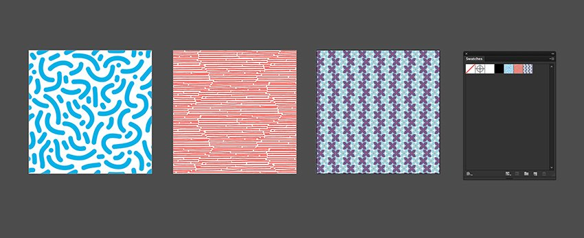 Duplicate a square and use the pattern under the Swatches panel