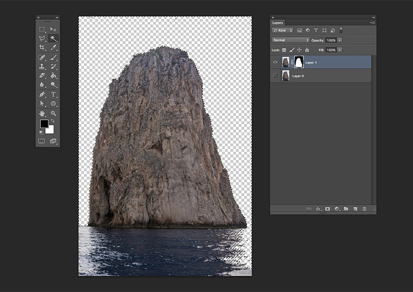 Delete the selected sections on the Layer Mask