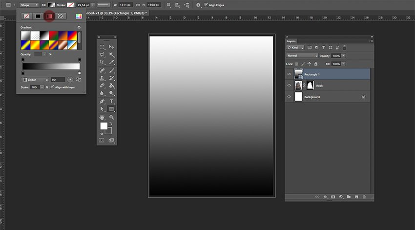 Add a gradient layer and move under the rock layer